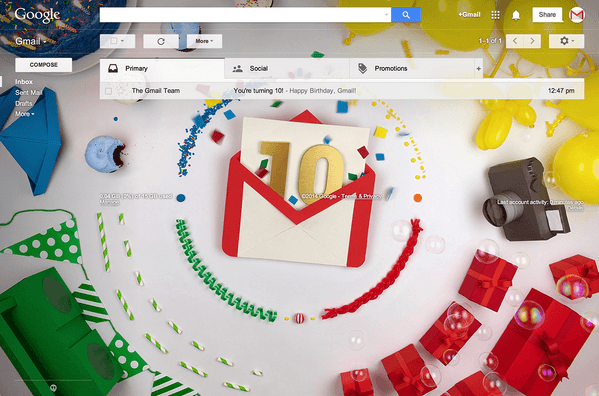 GMAIL Clocks 10years